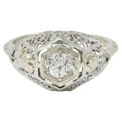 Art Deco Old European Cut Diamond 18 Karat White Gold Trellis Engagement Ring