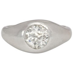 Art Deco Old European Cut Diamond and Platinum Gypsy Ring with Tapered Band