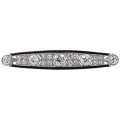 Art Deco Old European Cut Diamond Brooch Pin