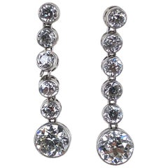 Art Deco Old European Cut Diamond Drop Platinum Earrings