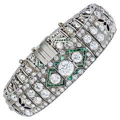 Art Deco Old-European Cut Diamond, Emerald and Onyx Platinum Art Deco Bracelet