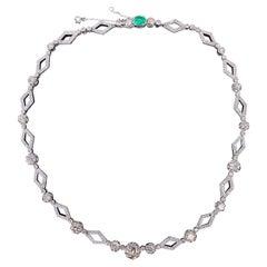 Art Deco Old European Cut Diamond Emerald Geometric Necklace Platinum Gold 1930s