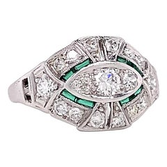 Art Deco Old European Cut Diamond Emerald Platinum Ring