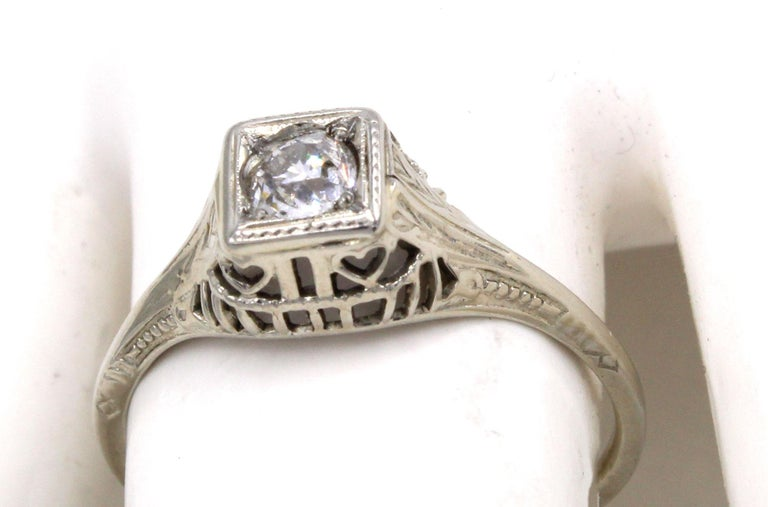 Art Deco Old European Cut Diamond Engagement Ring For Sale 1