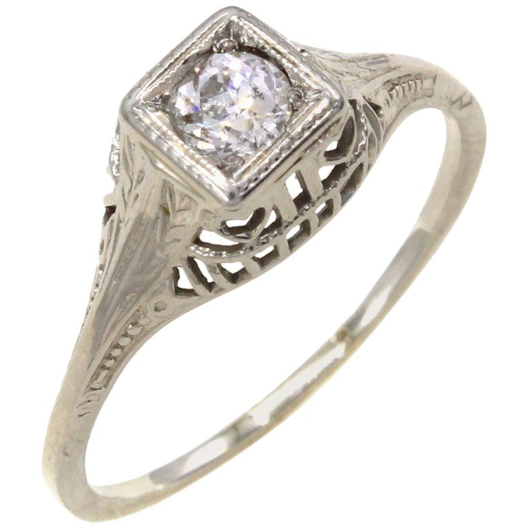 Art Deco Old European Cut Diamond Engagement Ring For Sale