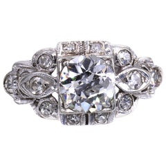 Art Deco Old European Cut Diamond Engagement Ring