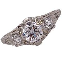Art Deco Old European Cut Diamond Filigree Engagement Ring 18K White Gold GIA