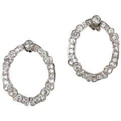 Art Deco Old European Cut Diamond Open Hoop Platinum Earrings