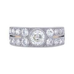 Art Deco Old European Cut Diamond Platinum 18 Karat Gold Ring