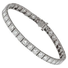 Art Deco Old European Cut Diamond Platinum Bracelet