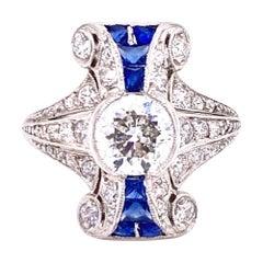 Art Deco Old European Cut Diamond Platinum Cocktail Ring Sapphire Accents