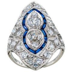 Art Deco Old European Cut Diamond Platinum Dinner Ring