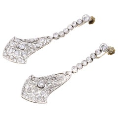 Art Deco Old European Cut Diamond Platinum Ear Pendants