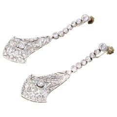 Art Deco Old European Cut Diamond Platinum Ear Pendants