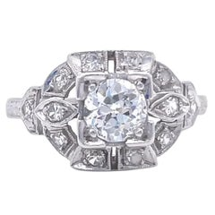 Art Deco Old European Cut Diamond Platinum Engagement Ring