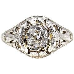 Art Deco Old European Cut Diamond Platinum Gold Engagement Ring