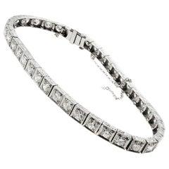 Art Deco Old European Cut Diamond Platinum Line Bracelet