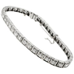 Art Deco Old European Cut Diamond Platinum Line Bracelet