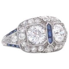 Art Deco Old European Cut Diamond Sapphire Platinum Ring