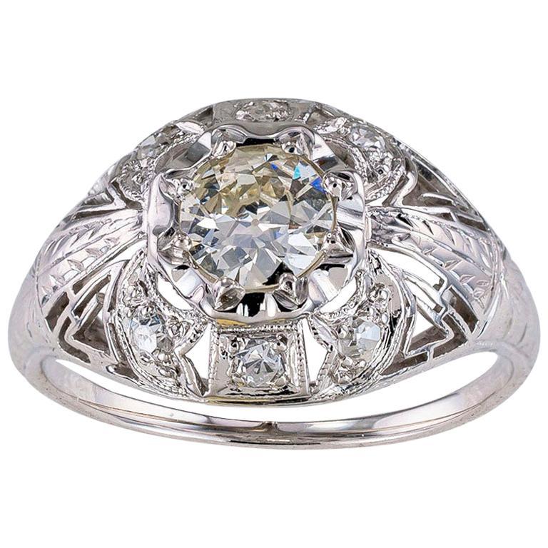 Art Deco Old European Cut Diamond White Gold Engagement Ring