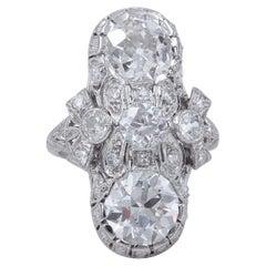 Art Deco Old European Cuts Platinum Diamond Ring 4.52 Carat GIA Certified