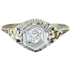Art Deco Old European Diamond 14 Karat Two-Tone Gold Floral Engagement Ring