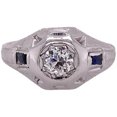 Art Deco Old European Diamond 18 Karat White Gold Vintage Ring Sapphire Accents