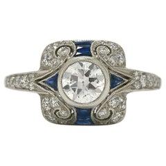 Art Deco Old European Diamond Blue Sapphires Platinum Filigree Engagement Ring