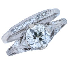 Art Deco Old European Diamond Engagement Ring and Band Set