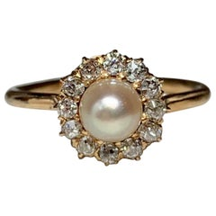 Art Deco Old European Diamond Halo Pearl Ring 14 Karat Gold Antique Engagement