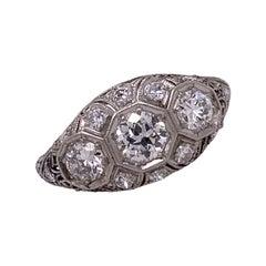 Art Deco Old European Diamond Platinum Three Stone Engagement Ring