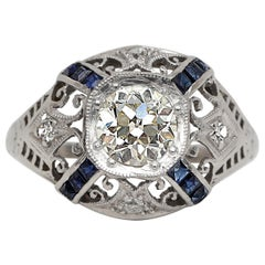 Art Deco Old European Diamond Platinum Vintage Engagement Ring w Sapphire accent