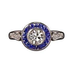 Art Deco Old European Diamond Sapphire Halo Ring