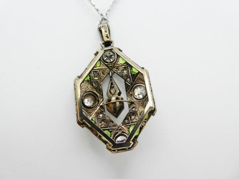 Art Deco Old European and Mine Cut Diamond Peridot Peal Pendant Necklace For Sale 1