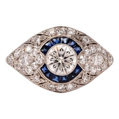 Art Deco Style Old European Sapphire Halo Platinum Dome Ring