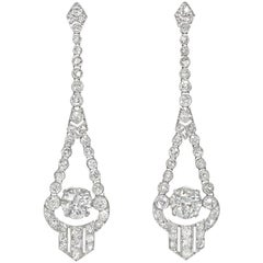 Art Deco Old Mine and Old European Cut Diamond Pendant Earrings in Platinum