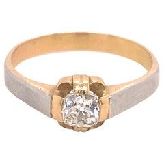 Art Deco Old Mine Cushion Cut Diamond Multicolor 18K Gold Ring