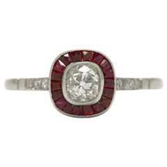 Art Deco Old Mine Cut Diamond Ruby Halo Platinum Target Engagement Ring
