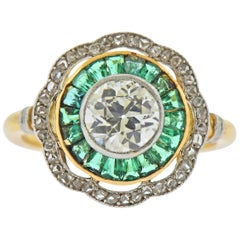 Art Deco Old Mine Diamond Emerald Gold Ring