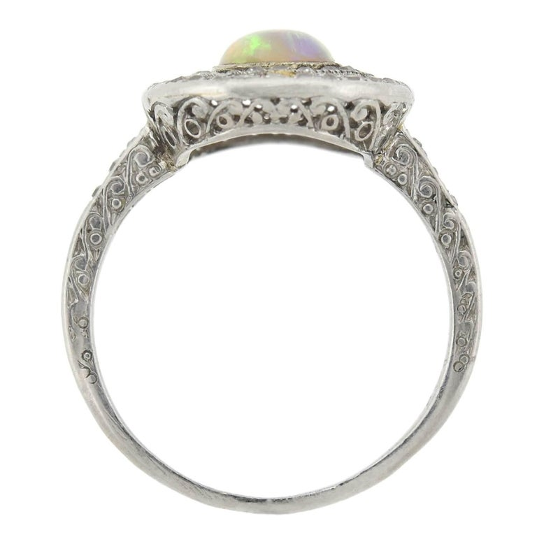 Art Deco Old Rose Cut Diamond and Opal Ring In Good Condition For Sale In Narberth, PA
