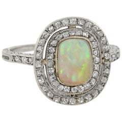 Art Deco Old Rose Cut Diamond and Opal Ring