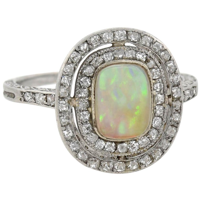 Art Deco Old Rose Cut Diamond and Opal Ring For Sale