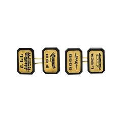 Art Deco Onyx 14 Karat Gold Vehicular Men's Cufflinks