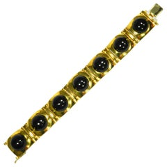 Art Deco Onyx 18 Karat Yellow Gold Link Bracelet