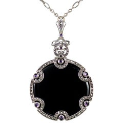 Art Deco Onyx Amethyst Pendant Necklace Sterling Silver, circa 1920