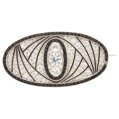 Art Deco Onyx and Diamond Brooch