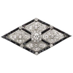Art Deco Onyx and Diamond Platinum Brooch