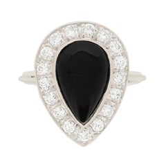 Art Deco Onyx and Diamond Ring, circa 1940s