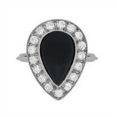 Art Deco Onyx and Diamond Ring, circa 1940s