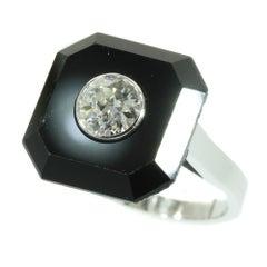Art Deco 1930s Onyx and Diamond Unique Engagement Ring